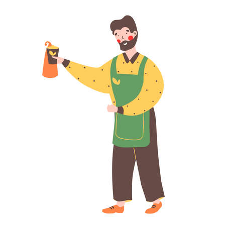 Hipster barista cafe. Flat cartoon vector illustration. Flat cartoon character