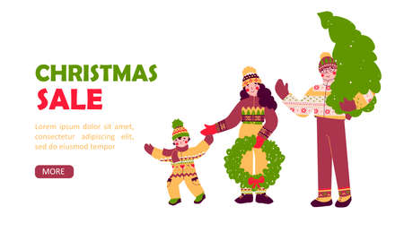 Happy Christmas family, preparation for holiday, Merry christmas flat vector landing page template. Stock Illustratie
