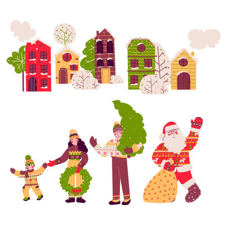 Cartoon christmas family set, vector flat cartoon illustration.