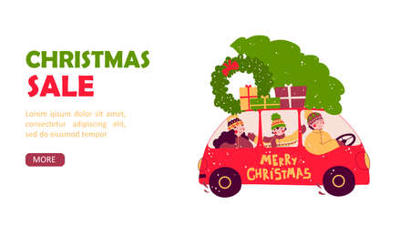 Cartoon family tree car for decoration design. Merry christmas flat vector landing page template.