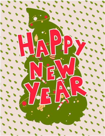 Happy New Year lettering in cartoon style on background of the Christmas tree. Stock Illustratie