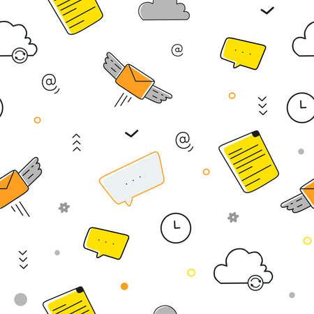 Digital marketing illustration, vector seamless pattern. Vector abstract illustration.