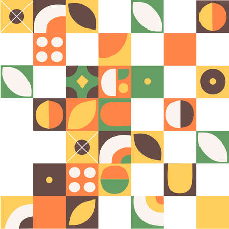 Flat pattern squares background flat vector illustration. Retro funky graphic.