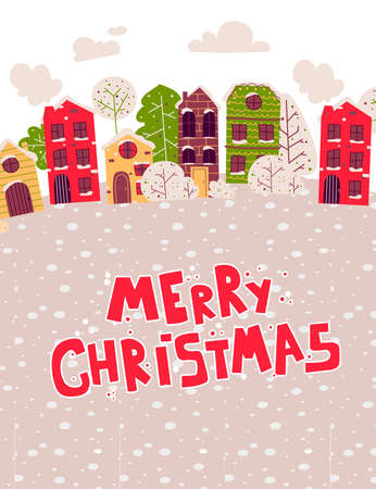 Christmas houses in retro style on light background, flat vector illustration.