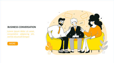 Business negotiation, conversation, flat vector landing page template. Business people talking at table. Stock Illustratie