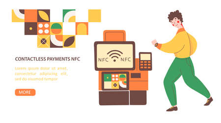 Payment terminal nfc, flat vector landing page template. Safe payment. Man pays for the purchase with mobile hours. Stock Illustratie