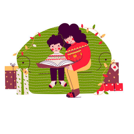 Christmas family evening, Mom baby learning read book, Cartoon vector people illustration.