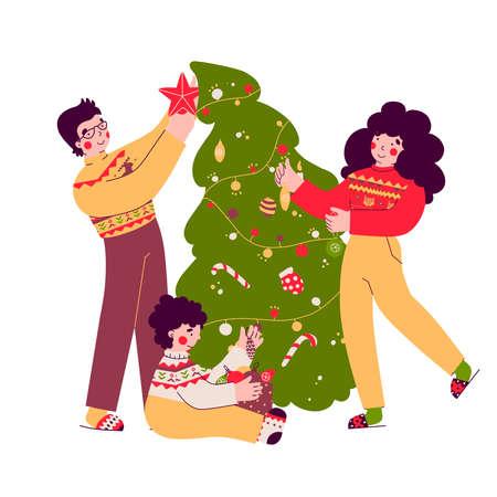 Preparing for Christmas, decorating tree, family evening, flat vector illustration.