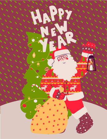 Santa claus with gift, merry christmas. Funny cartoon character. Stock Illustratie