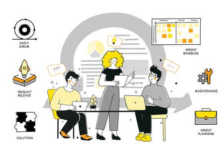 Scrum methodology for marketing design, flat vector illustration.