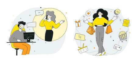 Christmas gifts, family holiday, flat cartoon vector illustration.