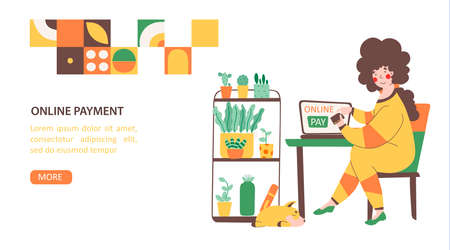 Online store payment from home, flat vector landing page template Stock Illustratie
