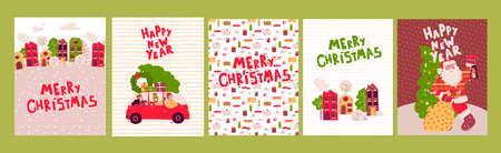 Cartoon Christmas cards Set, Vector illustration, poster. Merry christmas. Stock Illustratie