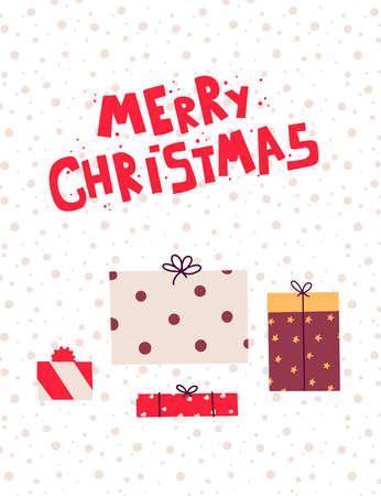 Flat gifts christmas set for paper design. Design element vector illustration.