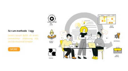 Scrum methodology for marketing design, flat vector landing page template.