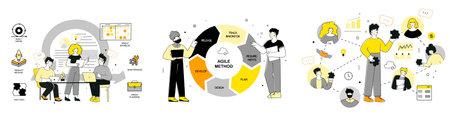 Scrum, agile methodology for marketing design, flat vector illustration set. Vektorgrafik