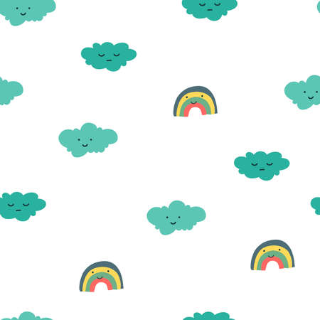 Rainbow clouds pattern in cartoon style on soft background. Baby cute rainbow graphic illustration.