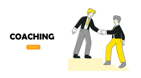 Coaching mentoring people. flat vector landing page template. Cartoon people vector illustration 矢量图像