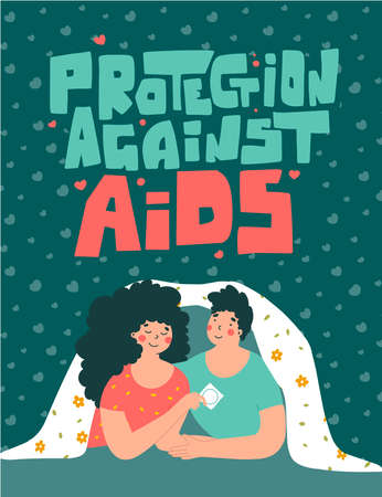 Enamored couple and condom in fantasy style, flat vector illustration. Protection against AIDS hand lettering. 矢量图像