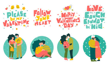 Couples lovers character set, valentines day quotes hand lettering. Cartoon people vector illustration. 矢量图像