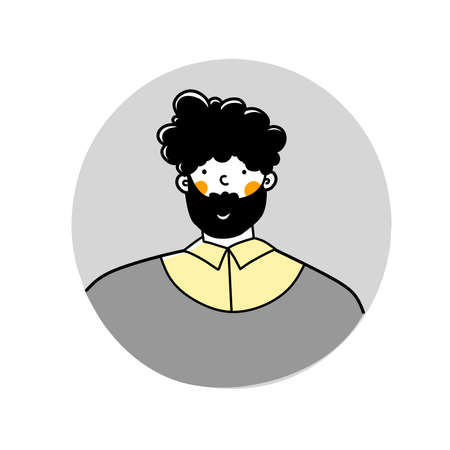 Cartoon avatar man with beard, flat vector illustration. Guy is hipster, face social networks.
