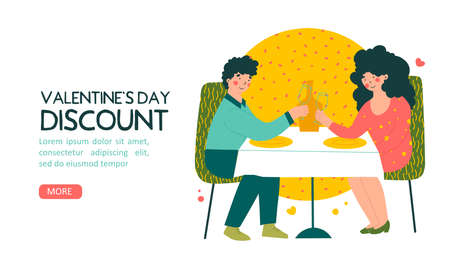 Romantic date in restaurant on Valentines Day, discount, flat vector landing page template. Cartoon people vector illustration.