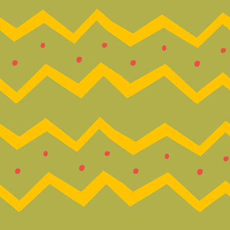 Zigzag line on green background, Classic pattern for fabric design. Illustration