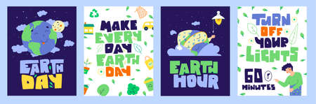 Earth day banner set. Turn off your light. 60 minutes. Illustration
