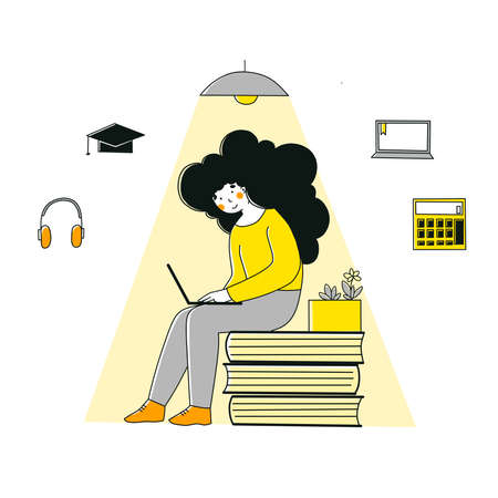 Self-study in flat style. School, education, study, learning concept. Home office.