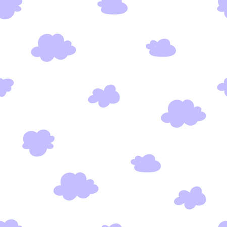 Clouds pattern in abstract style on blue background. Seamless vector texture.