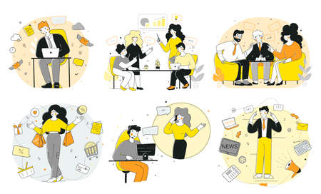 Modern set office workers, soft skils, flat vector illustration. Training set.