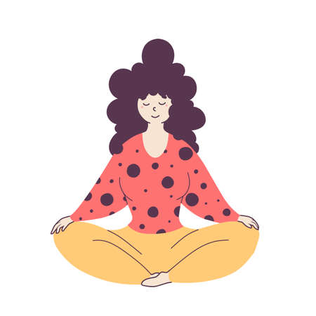 Relaxed woman sitting in lotus pose flat illustration 免版税图像