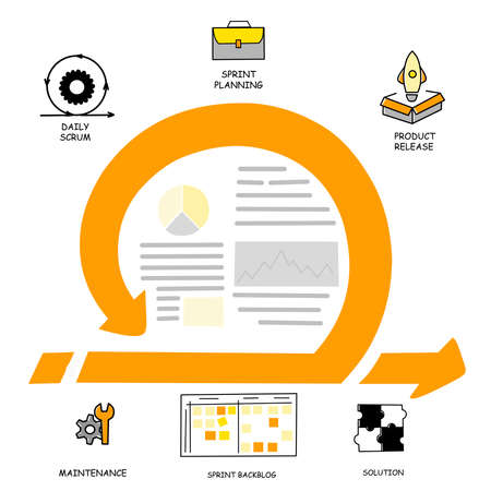 Infographic with agile method. Infographics business concept. Arrow icon. Vecteurs