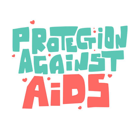 Protection against aids hand lettering. Cartoon people vector illustration. 向量圖像