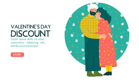 Cartoon elderly couple. Valentines Day greeting card, discount, flat vector landing page template. Old people. Endless love - hand leyyering. 向量圖像
