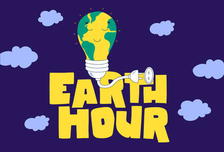 Earth hour hand lettering Flat cartoon vector illustration. Green planet earth vector.