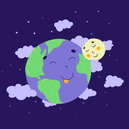 Cartoon earth moon for concept design. Cartoon flat vector illustration.
