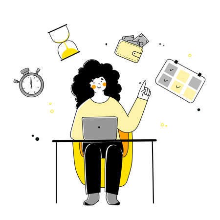 Flat illustration with time management self-organization for concept design.