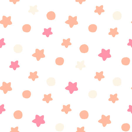 Pink confetti star pattern. Holiday bright background.