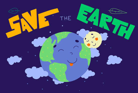 Earth day lettering, Vector illustration design. Cartoon earth moon for concept design. Lettering typography poster. 向量圖像