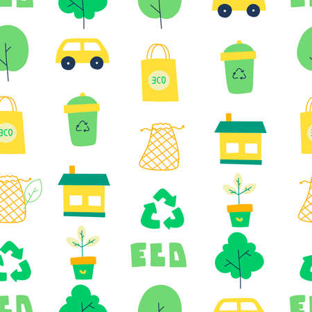 Zero waste pattern in linear style, flat vector illustration. Leaf line icon set. 向量圖像