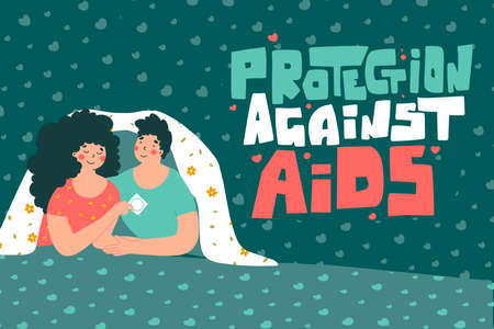 Enamored couple and condom in fantasy style, flat vector illustration. Protection against AIDS hand lettering.