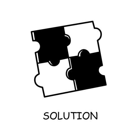 Linear icon with black solution puzzle for concept design. Vector icon.