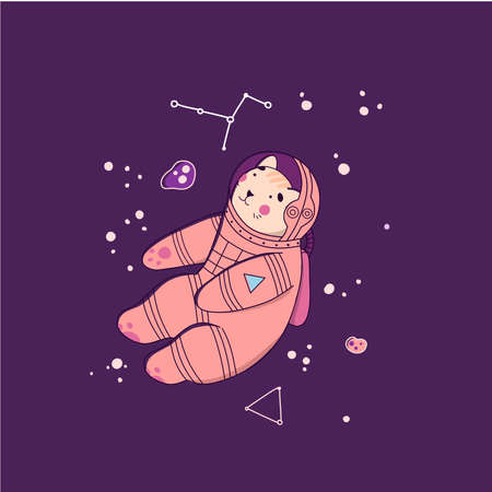 Cat astronaut in space, Flat Cartoon vector illustration. Black background. Illustration