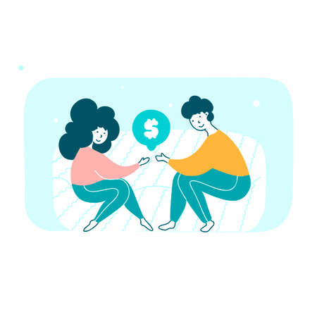 People holding dollar sign hand drawn illustration Banque d'images