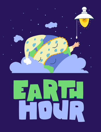 Earth hour, Planet earth in cartoon style on light background. Illustration