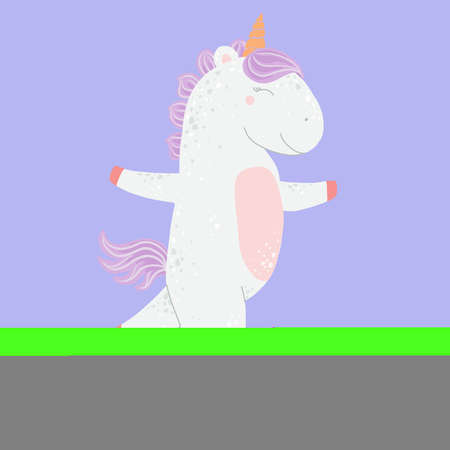 Unicorn in a dress dancing dance, happy horse, flat illustration