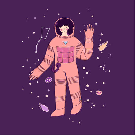 Woman astronaut, feminism, emancipation. Space flights, tourism, travel, starry space. Illustration