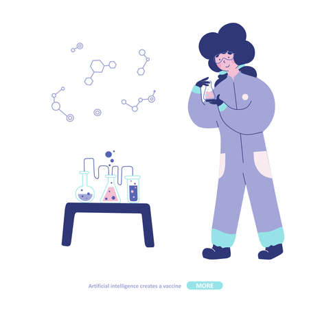 Chemical laboratory research, Flat character illustration.