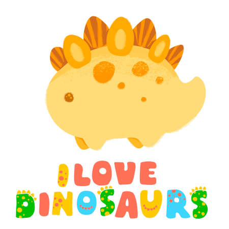 Kawaii dinosaur and Lettering I love dinosaurs. illustration. Textured effect pencil, acrylic